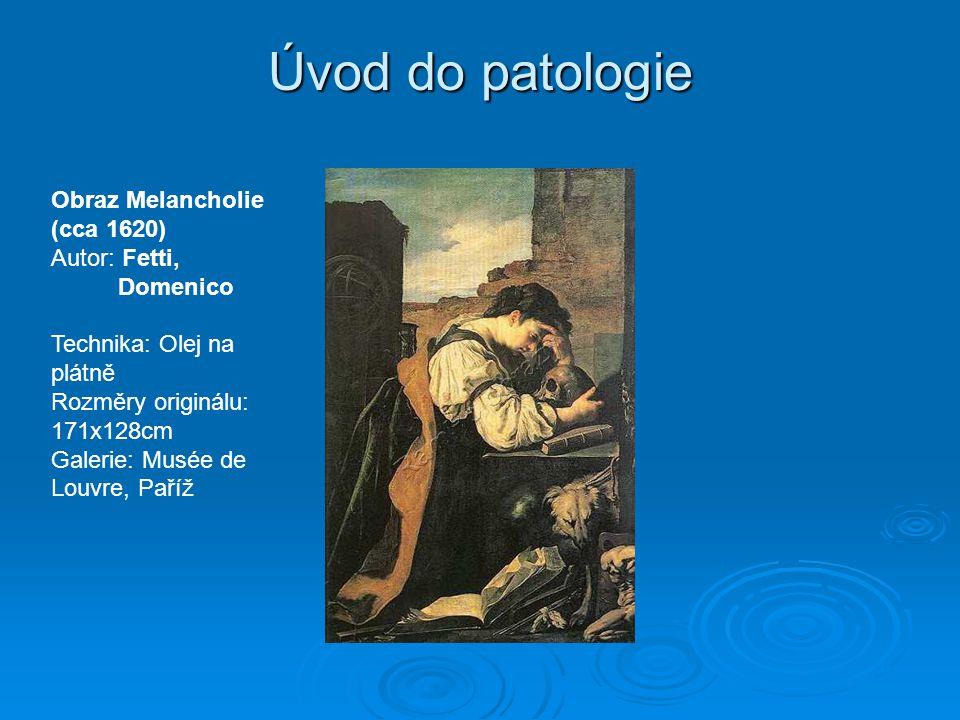 Úvod do patologie Obraz Melancholie (cca 1620) Autor: Fetti, Domenico Technika: Olej na plátně Rozměry originálu: 171x128cm Galerie: Musée de Louvre, Paříž