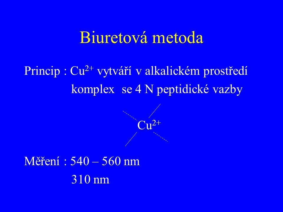 Biuretová metoda Princip : Cu 2+ vytváří v alkalickém prostředí komplex se 4 N peptidické vazby Cu 2+ Měření : 540 – 560 nm 310 nm