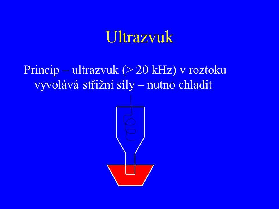 Ultrazvuk Princip – ultrazvuk (> 20 kHz) v roztoku vyvolává střižní síly – nutno chladit