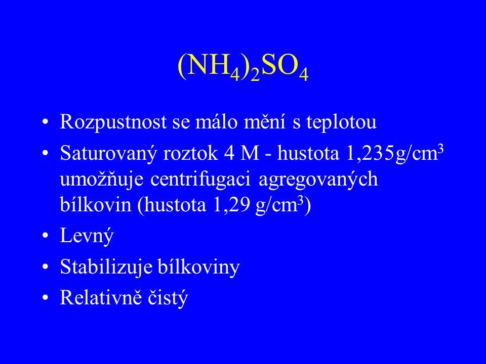(NH 4 ) 2 SO 4 Rozpustnost se málo mění s teplotou Saturovaný roztok 4 M - hustota 1,235g/cm 3 umožňuje centrifugaci agregovaných bílkovin (hustota 1,29 g/cm 3 ) Levný Stabilizuje bílkoviny Relativně čistý