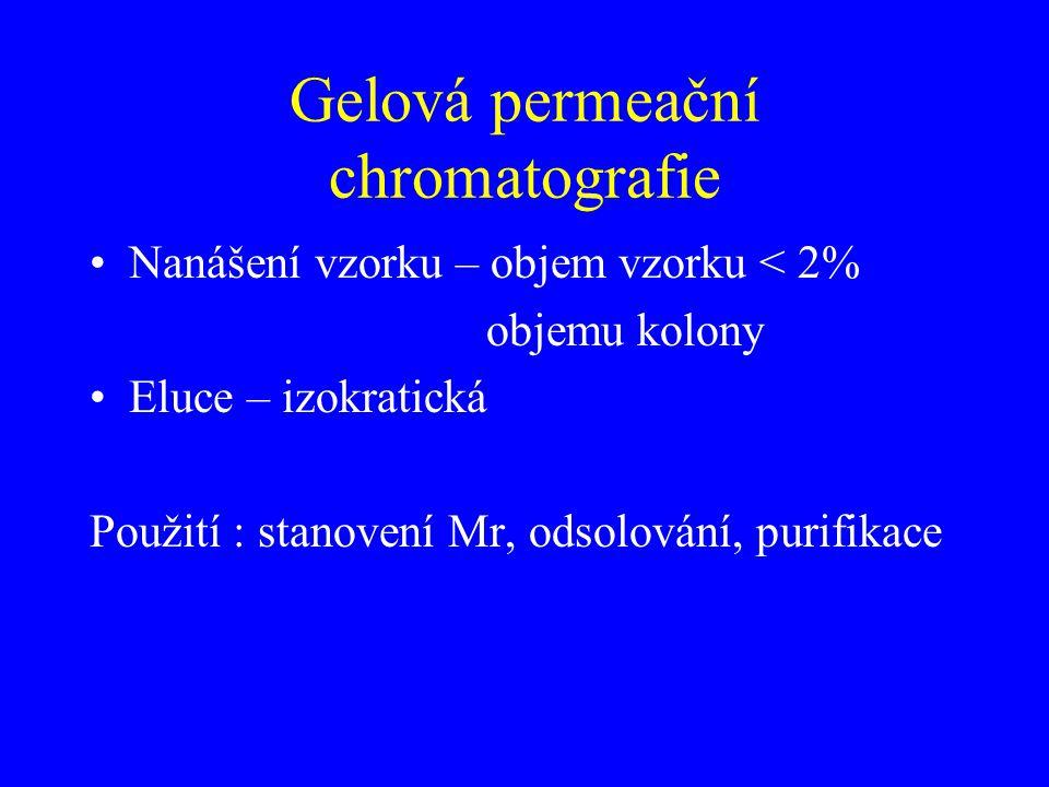 Gelová permeační chromatografie Nanášení vzorku – objem vzorku < 2% objemu kolony Eluce – izokratická Použití : stanovení Mr, odsolování, purifikace