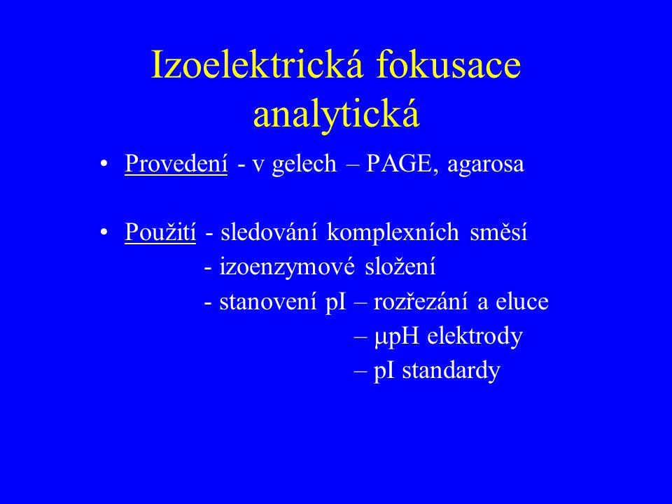 Izoelektrická fokusace analytická Provedení - v gelech – PAGE, agarosa Použití - sledování komplexních směsí - izoenzymové složení - stanovení pI – rozřezání a eluce –  pH elektrody – pI standardy