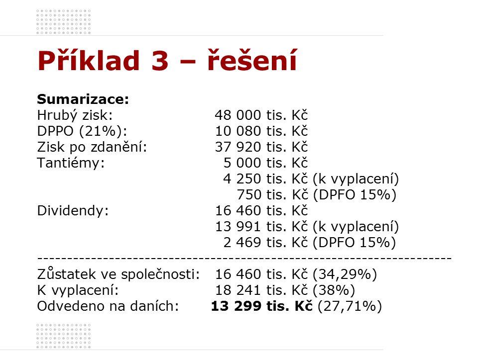 Příklad 3 – řešení Sumarizace: Hrubý zisk: 48 000 tis.