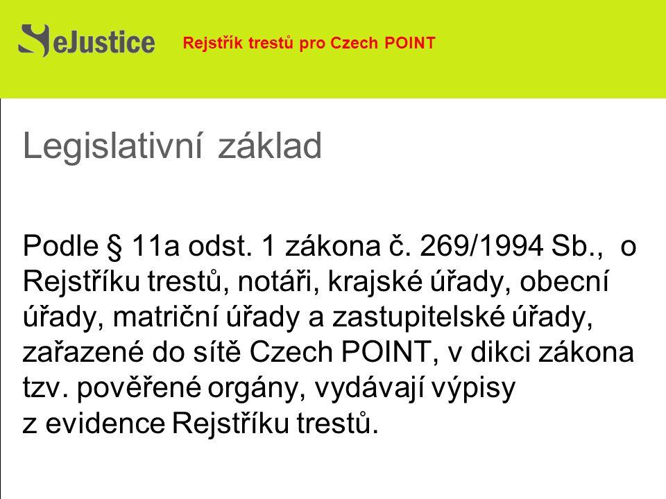 Legislativní základ Podle § 11a odst. 1 zákona č.