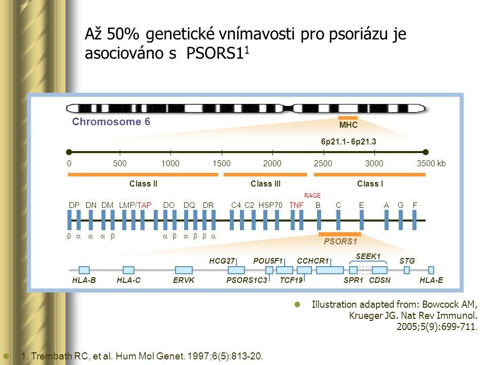 Až 50% genetické vnímavosti pro psoriázu je asociováno s PSORS1 1 1.