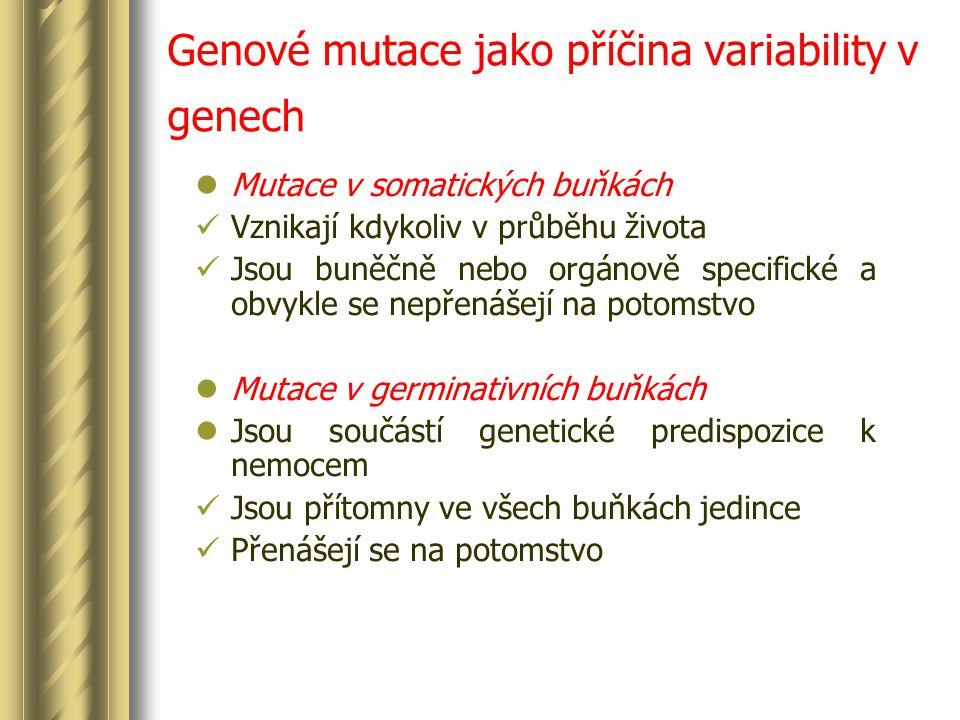 Genové mutace jako příčina variability v genech Mutace v somatických buňkách Vznikají kdykoliv v průběhu života Jsou buněčně nebo orgánově specifické a obvykle se nepřenášejí na potomstvo Mutace v germinativních buňkách Jsou součástí genetické predispozice k nemocem Jsou přítomny ve všech buňkách jedince Přenášejí se na potomstvo