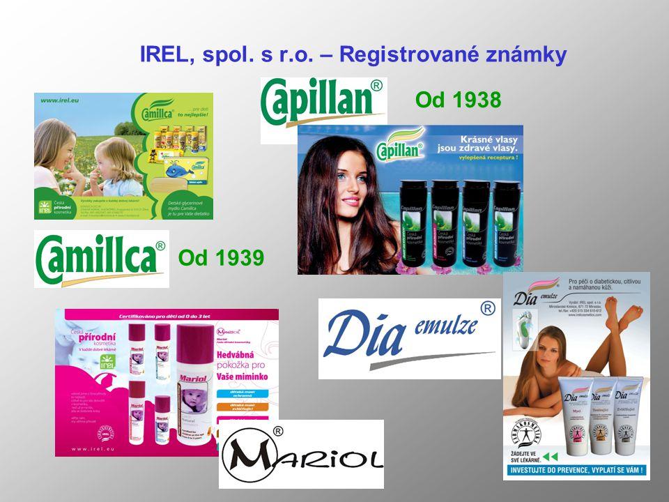 IREL, spol. s r.o. – Registrované známky Od 1938 Od 1939