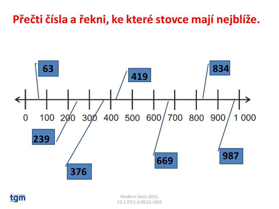 Moderní škola 2011, CZ.1.07/1.4.00/21.1692 63 239 376 419 669 834 987 Přečti čísla a řekni, ke které stovce mají nejblíže.
