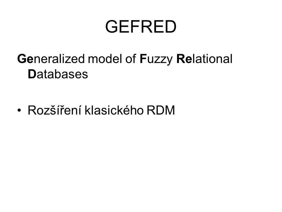 GEFRED Generalized model of Fuzzy Relational Databases Rozšíření klasického RDM