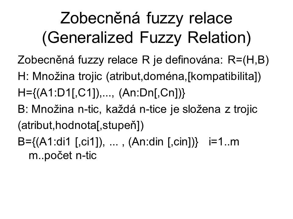 Zobecněná fuzzy relace (Generalized Fuzzy Relation) Zobecněná fuzzy relace R je definována: R=(H,B) H: Množina trojic (atribut,doména,[kompatibilita])
