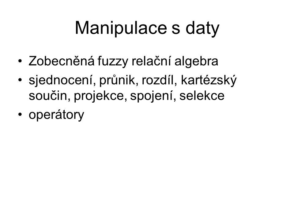 Manipulace s daty Zobecněná fuzzy relační algebra sjednocení, průnik, rozdíl, kartézský součin, projekce, spojení, selekce operátory