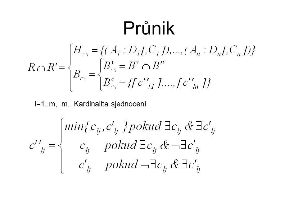 Průnik l=1..m, m.. Kardinalita sjednocení