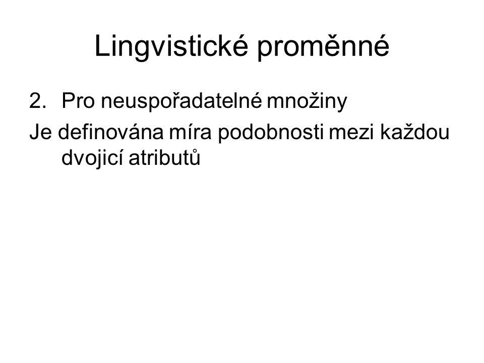 Lingvistické proměnné 2.Pro neuspořadatelné množiny Je definována míra podobnosti mezi každou dvojicí atributů