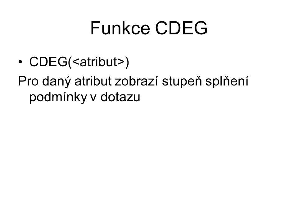 Funkce CDEG CDEG( ) Pro daný atribut zobrazí stupeň splňení podmínky v dotazu