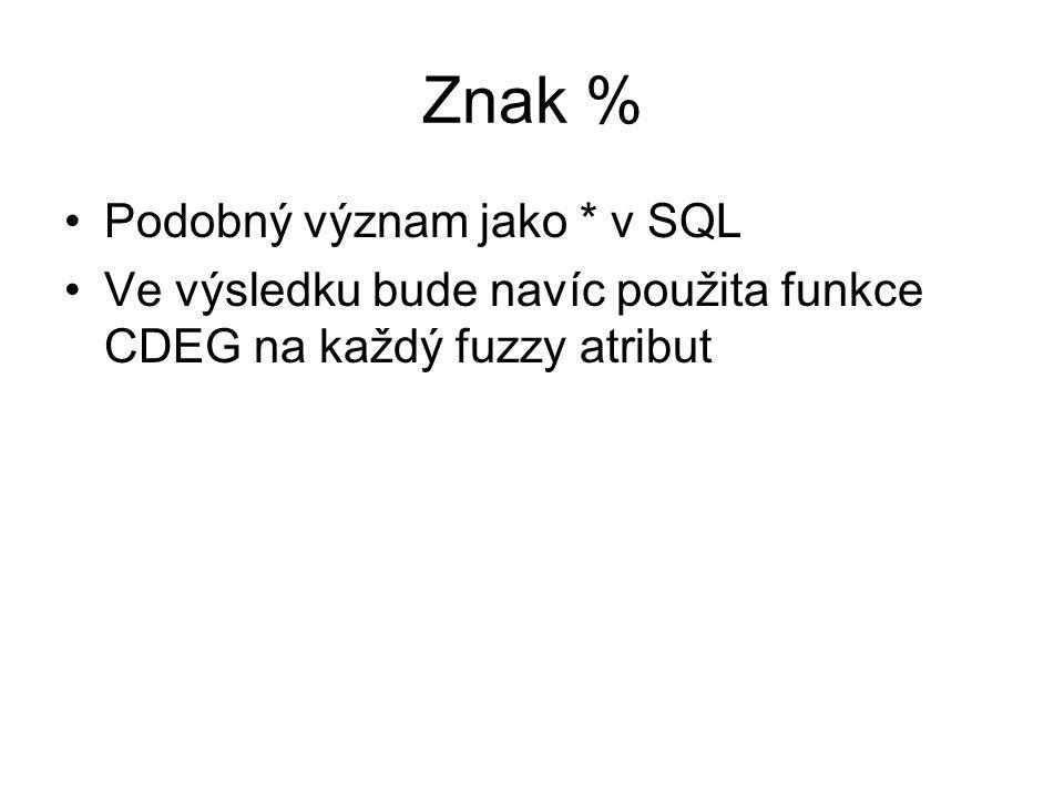 Znak % Podobný význam jako * v SQL Ve výsledku bude navíc použita funkce CDEG na každý fuzzy atribut