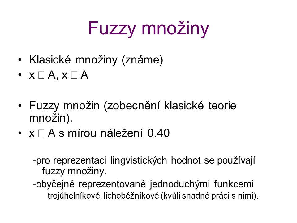 Fuzzy množiny Klasické množiny (známe) x  A, x  A Fuzzy množin (zobecnění klasické teorie množin). x  A s mírou náležení 0.40 -pro reprezentaci