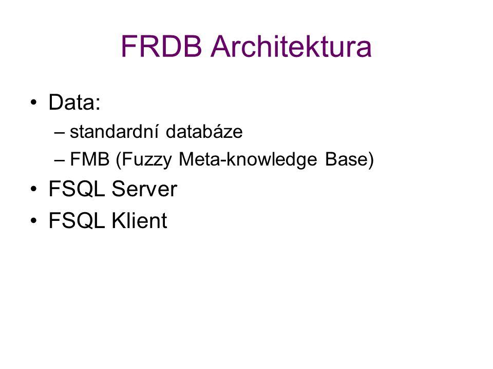 FRDB Architektura Data: –standardní databáze –FMB (Fuzzy Meta-knowledge Base) FSQL Server FSQL Klient
