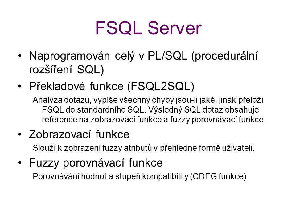 FSQL Server Naprogramován celý v PL/SQL (procedurální rozšíření SQL) Překladové funkce (FSQL2SQL) Analýza dotazu, vypíše všechny chyby jsou-li jaké, j