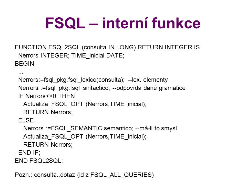 FSQL – interní funkce FUNCTION FSQL2SQL (consulta IN LONG) RETURN INTEGER IS Nerrors INTEGER; TIME_inicial DATE; BEGIN... Nerrors:=fsql_pkg.fsql_lexic