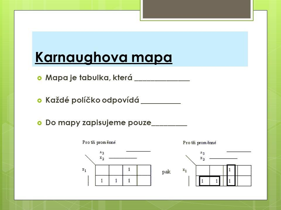 Karnaughova mapa  Mapa je tabulka, která ______________  Každé políčko odpovídá __________  Do mapy zapisujeme pouze_________