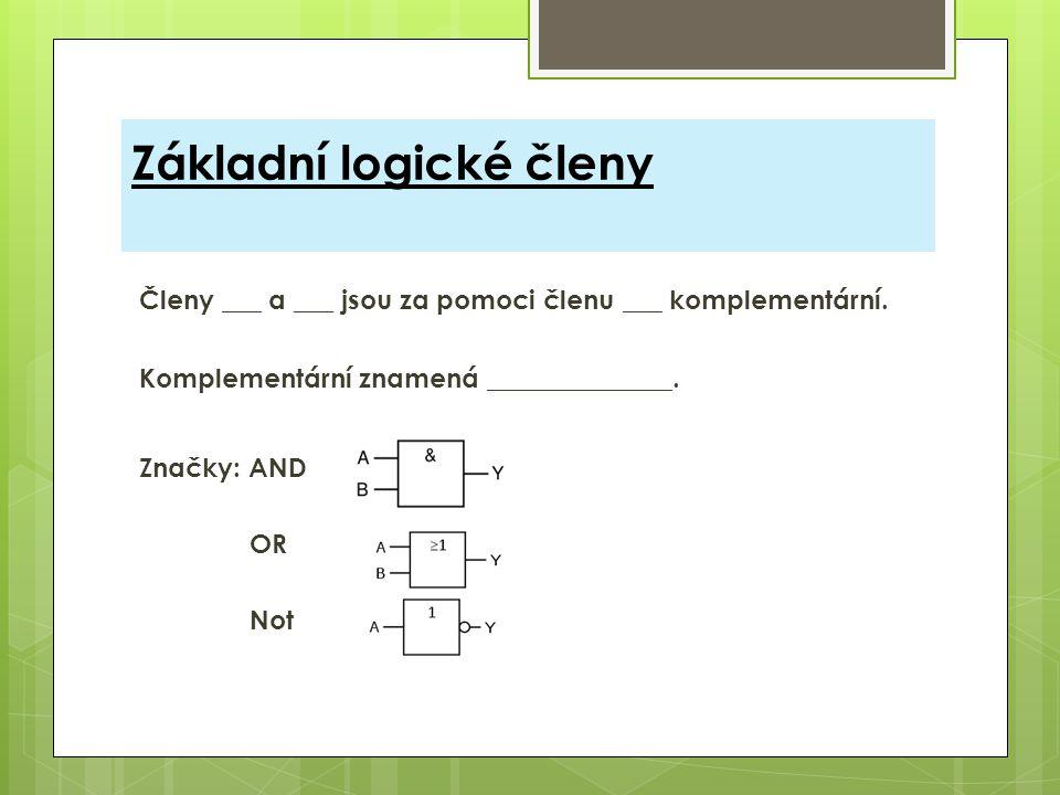 Základní logické členy Členy ___ a ___ jsou za pomoci členu ___ komplementární. Komplementární znamená ______________. Značky: AND OR Not