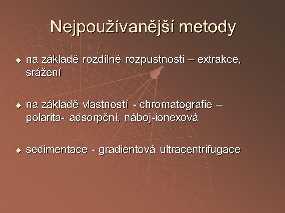Nejpoužívanější metody  na základě rozdílné rozpustnosti – extrakce, srážení  na základě vlastností - chromatografie – polarita- adsorpční, náboj-ionexová  sedimentace - gradientová ultracentrifugace