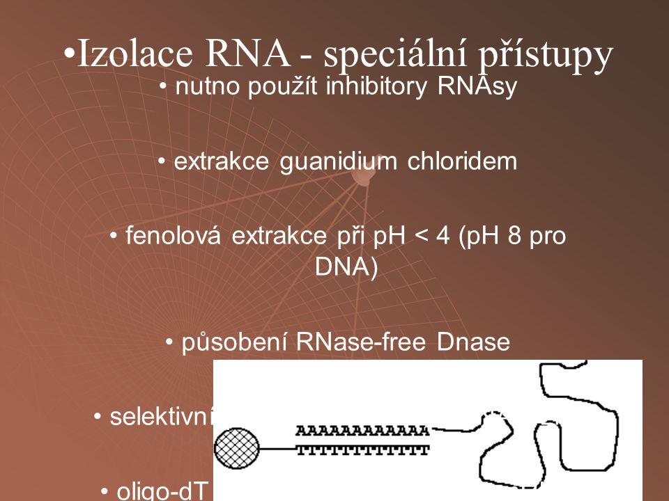 Izolace RNA - speciální přístupy nutno použít inhibitory RNAsy extrakce guanidium chloridem fenolová extrakce při pH < 4 (pH 8 pro DNA) působení RNase-free Dnase selektivní precipitace rRNA, mRNA s LiCl oligo-dT afinitní chromatografie - mRNA