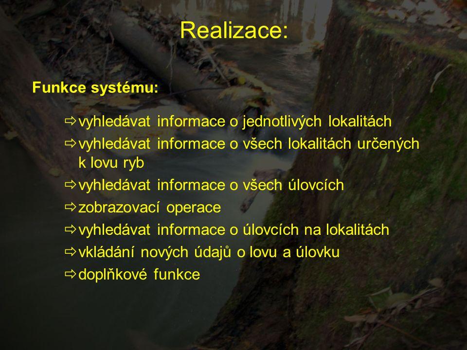 Realizace:  vyhledávat informace o jednotlivých lokalitách  vyhledávat informace o všech lokalitách určených k lovu ryb  vyhledávat informace o vše