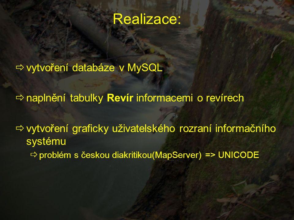  vytvoření databáze v MySQL  naplnění tabulky Revír informacemi o revírech  vytvoření graficky uživatelského rozraní informačního systému  problém