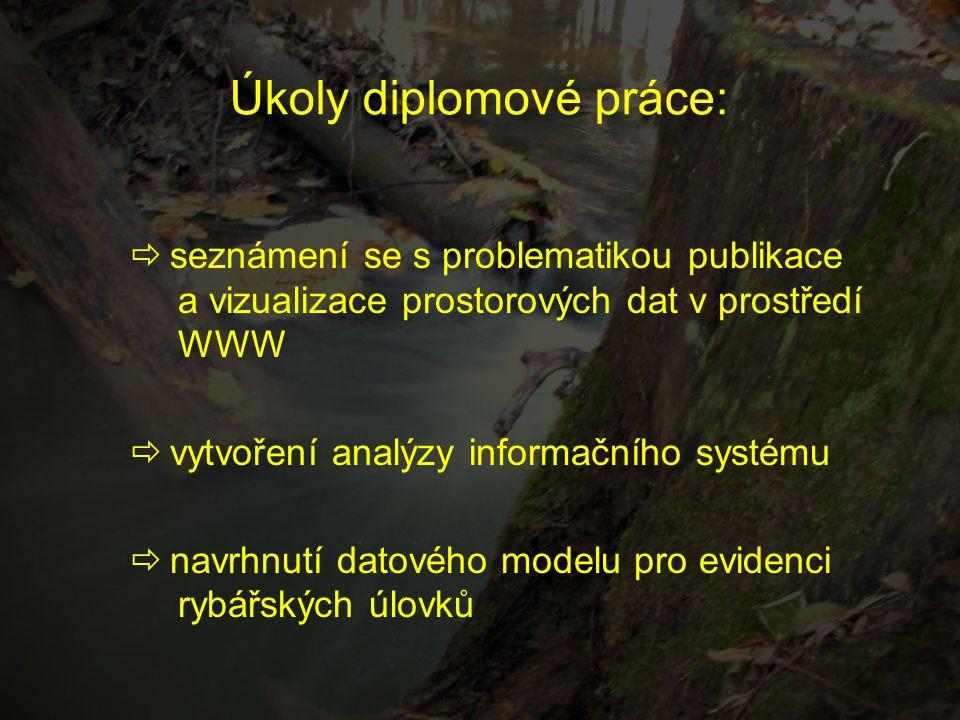 Úkoly diplomové práce:  seznámení se s problematikou publikace a vizualizace prostorových dat v prostředí WWW  vytvoření analýzy informačního systém