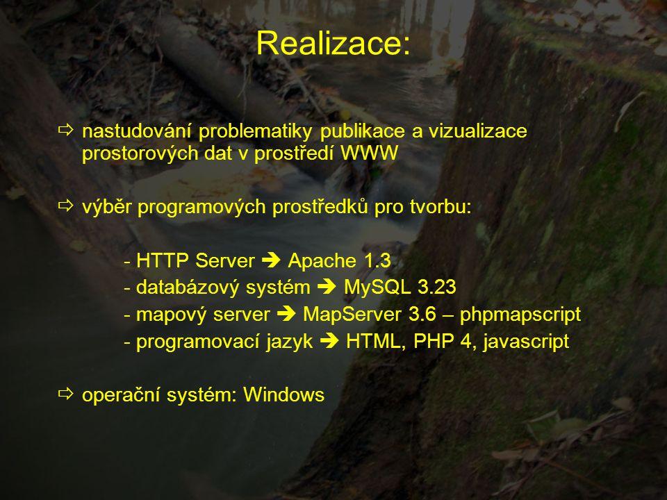 Realizace:  nastudování problematiky publikace a vizualizace prostorových dat v prostředí WWW  výběr programových prostředků pro tvorbu: - HTTP Serv