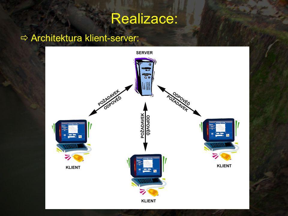 Realizace:  Architektura klient-server: