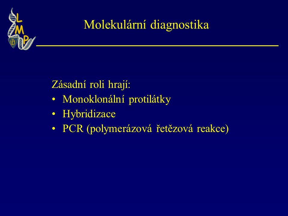 Molekulární diagnostika Zásadní roli hrají: Monoklonální protilátky Hybridizace PCR (polymerázová řetězová reakce)