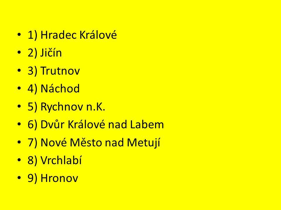 1) Hradec Králové 2) Jičín 3) Trutnov 4) Náchod 5) Rychnov n.K.