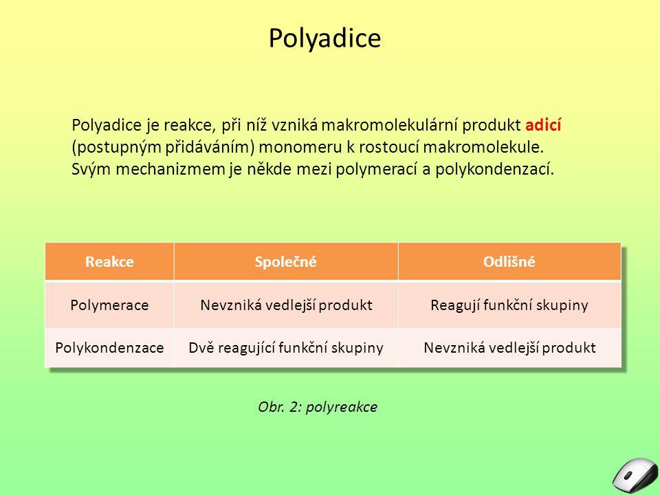 Polyadice Polyadice je reakce, při níž vzniká makromolekulární produkt adicí (postupným přidáváním) monomeru k rostoucí makromolekule. Svým mechanizme