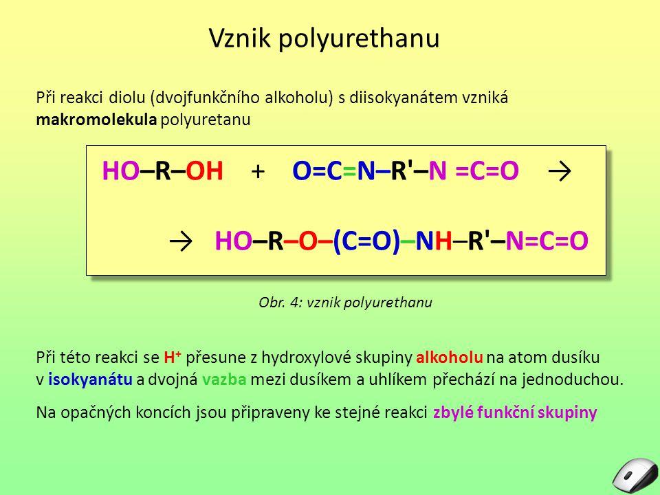Vznik polyurethanu Obr. 4: vznik polyurethanu Při reakci diolu (dvojfunkčního alkoholu) s diisokyanátem vzniká makromolekula polyuretanu HO–R–OH + O=C