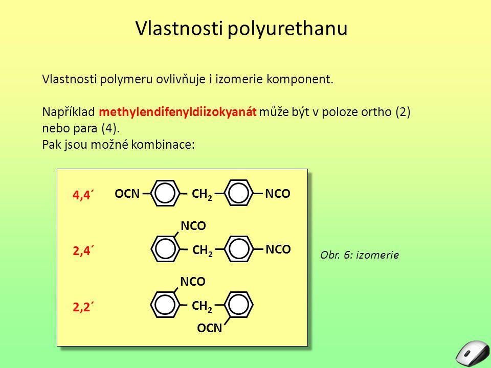 Vlastnosti polyurethanu Vlastnosti polymeru ovlivňuje i izomerie komponent. Například methylendifenyldiizokyanát může být v poloze ortho (2) nebo para