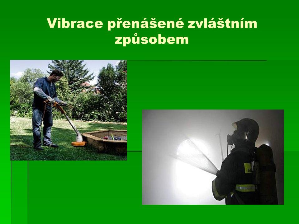 Posuzování vibrací přenášených na ruce  Rozhodující je L aw eq – největší naměřená průměrná hodnota celkové hladiny zrychlení vibrací (rozhoduje horší ruka a nejhorší směr)  Limit: 123 dB (směnová vážená hladina zrychlení vibrací) - předpokládaná bezpečná hranice pro exponované osoby při každodenní pracovní expozici  137 dB – limit který nelze překročit ani krátkodobě (do 20 min/směnu)