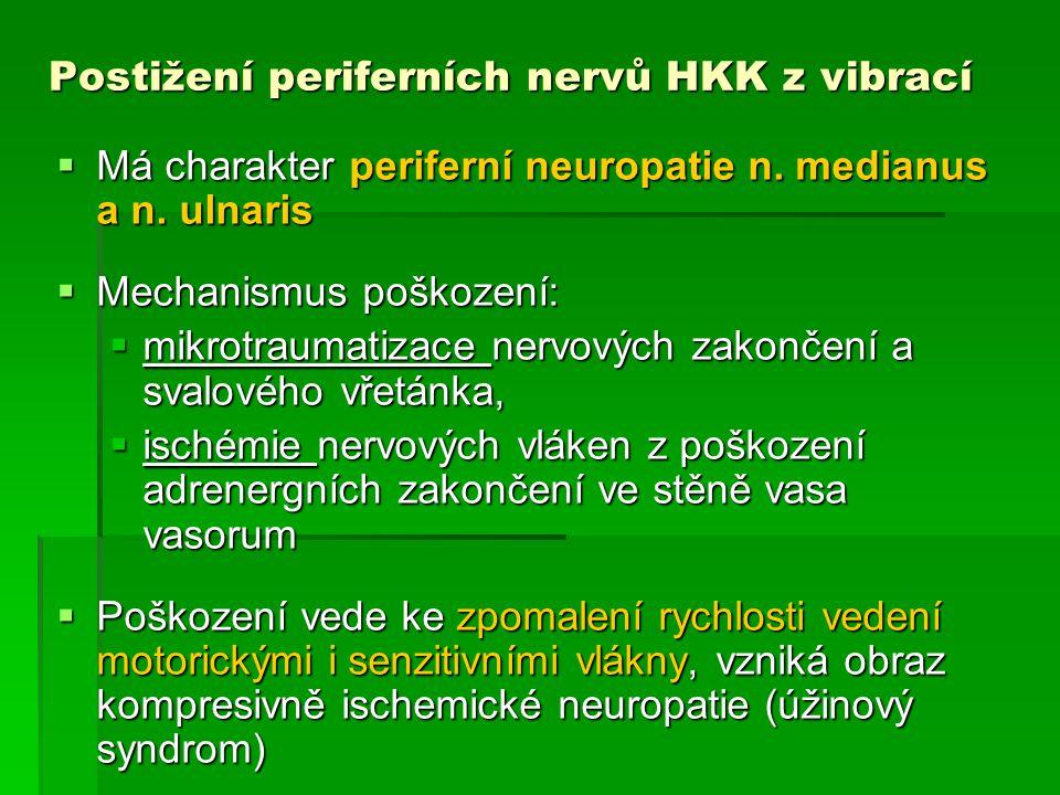 Postižení periferních nervů HKK z vibrací – klinický obraz   Brnění prstů, svalová slabost, bolestivost svalů předloktí a ruky, snížení citlivosti prstů, křeče, hyperhidróza aker, taktilní a algická hypestézie, poruchy reflexů HKK, jemné defekty motoriky   EMG prokáže lézi medianus, ulnaris neuropatie n.medianus : sy.