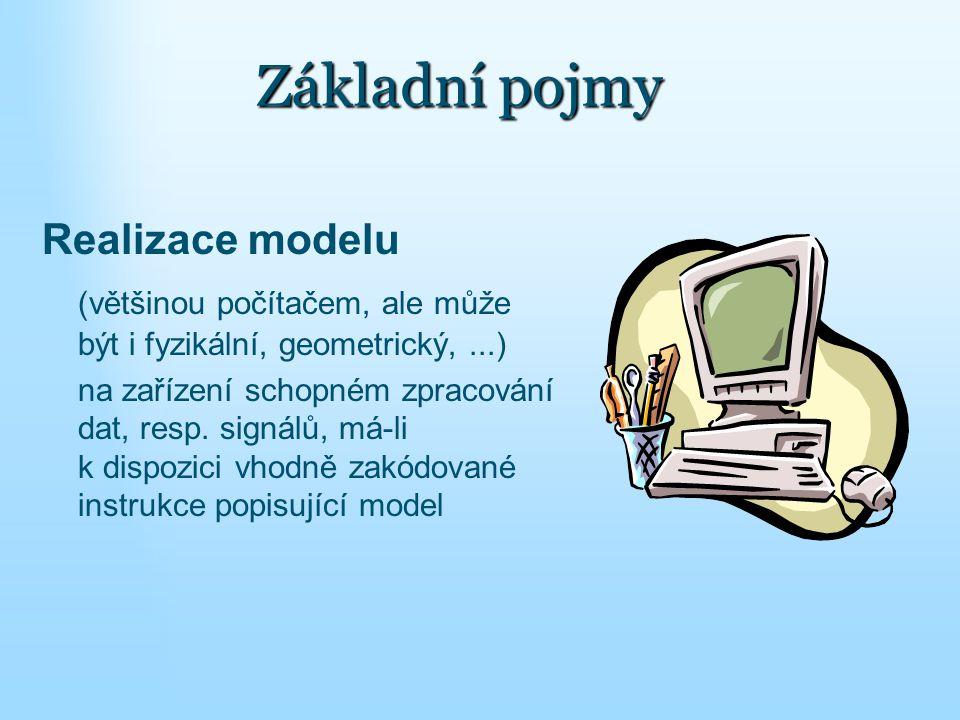 Realizace modelu (většinou počítačem, ale může být i fyzikální, geometrický,...) na zařízení schopném zpracování dat, resp. signálů, má-li k dispozic