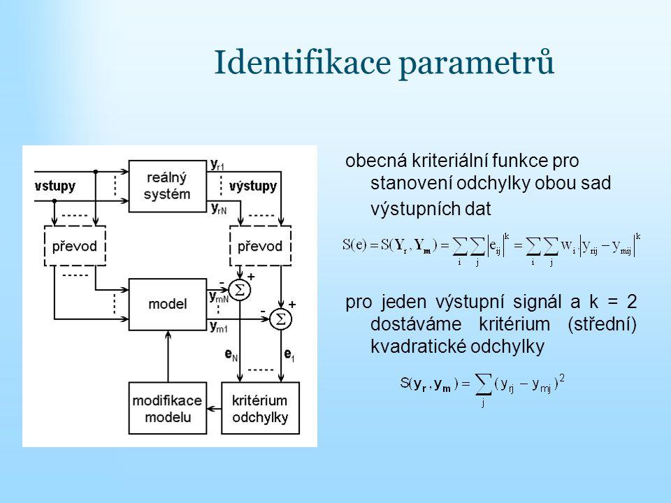 Identifikace parametrů obecná kriteriální funkce pro stanovení odchylky obou sad výstupních dat pro jeden výstupní signál a k = 2 dostáváme kritérium