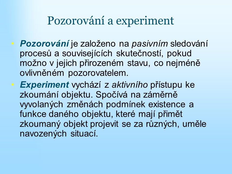 Pozorování a experiment Pozorování je založeno na pasivním sledování procesů a souvisejících skutečností, pokud možno v jejich přirozeném stavu, co ne