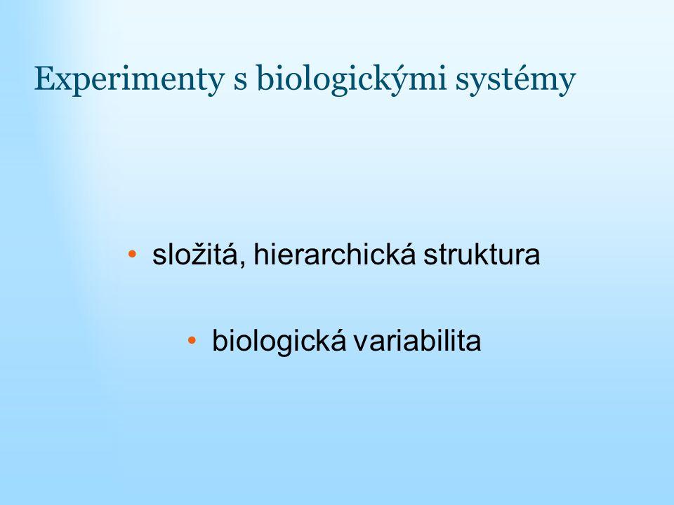 Experimenty s biologickými systémy složitá, hierarchická struktura biologická variabilita