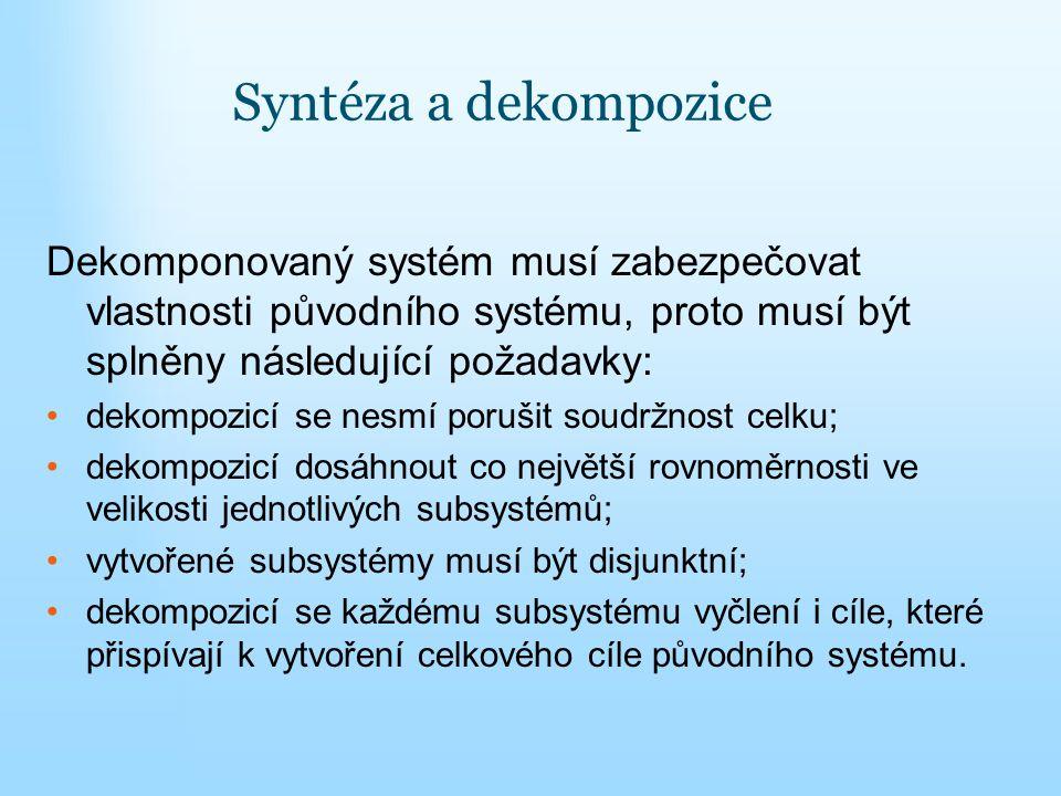 Syntéza a dekompozice Dekomponovaný systém musí zabezpečovat vlastnosti původního systému, proto musí být splněny následující požadavky: dekompozicí s