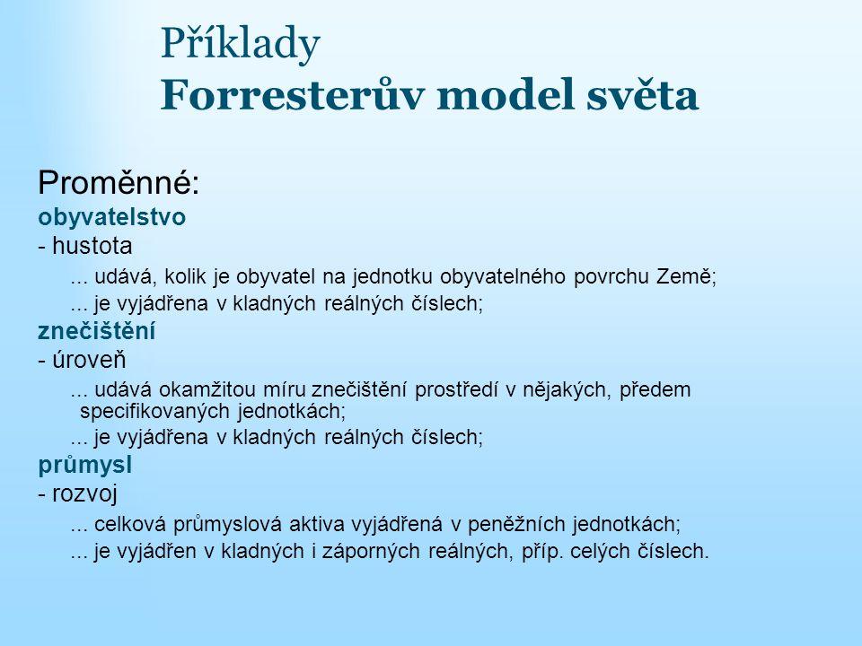 Příklady Forresterův model světa Proměnné: obyvatelstvo - hustota... udává, kolik je obyvatel na jednotku obyvatelného povrchu Země;... je vyjádřena v