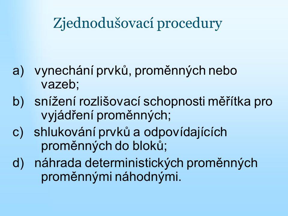 Zjednodušovací procedury a) vynechání prvků, proměnných nebo vazeb; b) snížení rozlišovací schopnosti měřítka pro vyjádření proměnných; c) shlukování