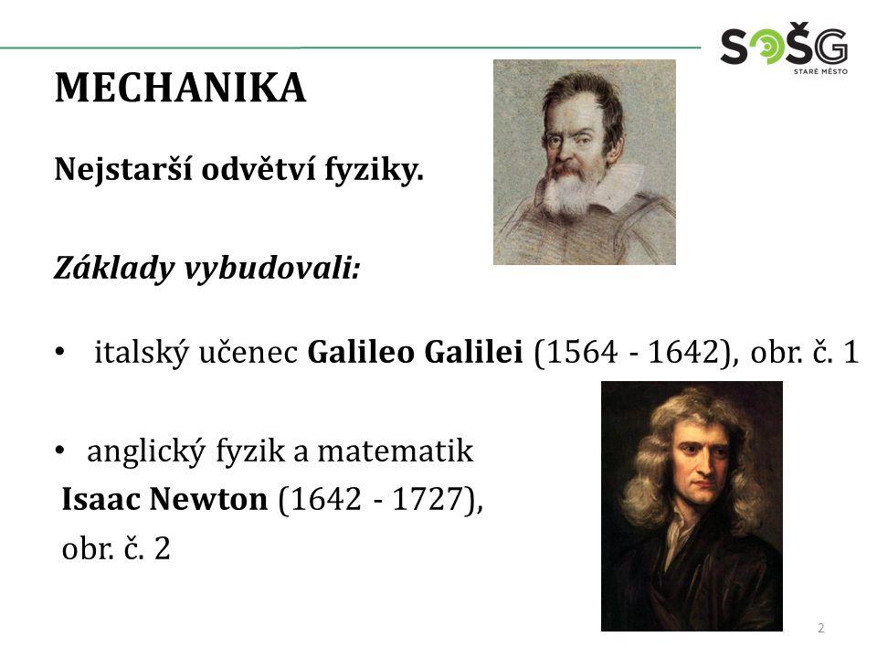 MECHANIKA Nejstarší odvětví fyziky.