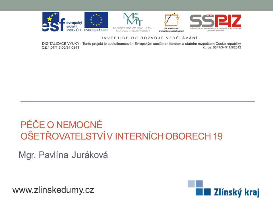 PÉČE O NEMOCNÉ OŠETŘOVATELSTVÍ V INTERNÍCH OBORECH 19 Mgr. Pavlína Juráková www.zlinskedumy.cz
