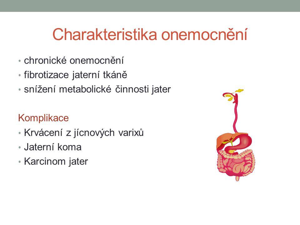 Charakteristika onemocnění chronické onemocnění fibrotizace jaterní tkáně snížení metabolické činnosti jater Komplikace Krvácení z jícnových varixů Ja