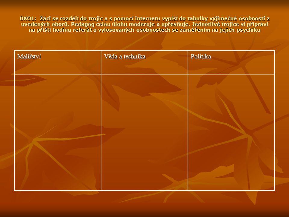 ÚKOL: Žáci se rozdělí do trojic a s pomocí internetu vypíší do tabulky výjimečné osobnosti z uvedených oborů.